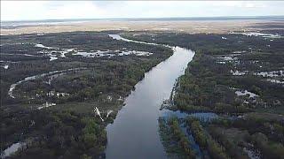 Река Припять с высоты птичьего полёта Лунинец Паром Конец апреля