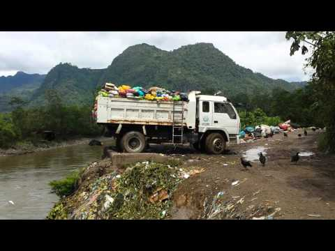 Plastic rubbish been dump in the amazon river