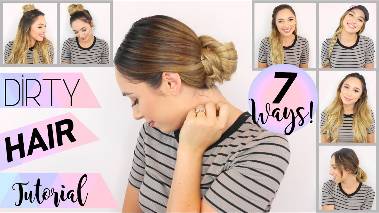 easy hairstyles for dirty hair | extension optional | 7 ways!