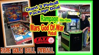 #1482 PINBALL Package Deal-GOLD BALL-MARS GOD OF WAR-RAMPAGE Video Game-TNT Amusements