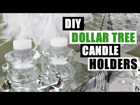 DIY DOLLAR TREE GLAM CANDLE HOLDERS Dollar Store Candle Holders Bling Candles DIY Glam Room Decor