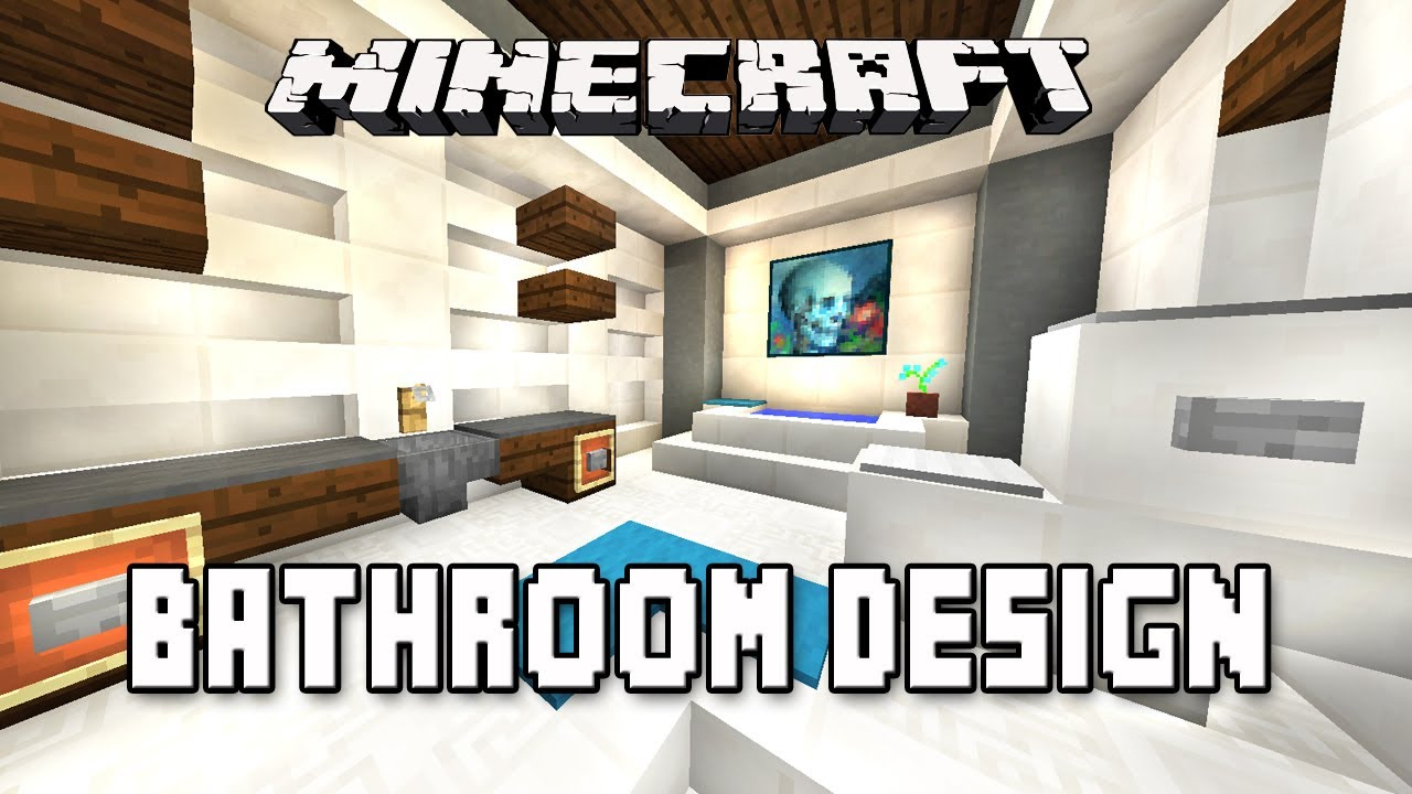 minecraft tutorial how to make a modern bathroom design modern house build ep16 youtube
