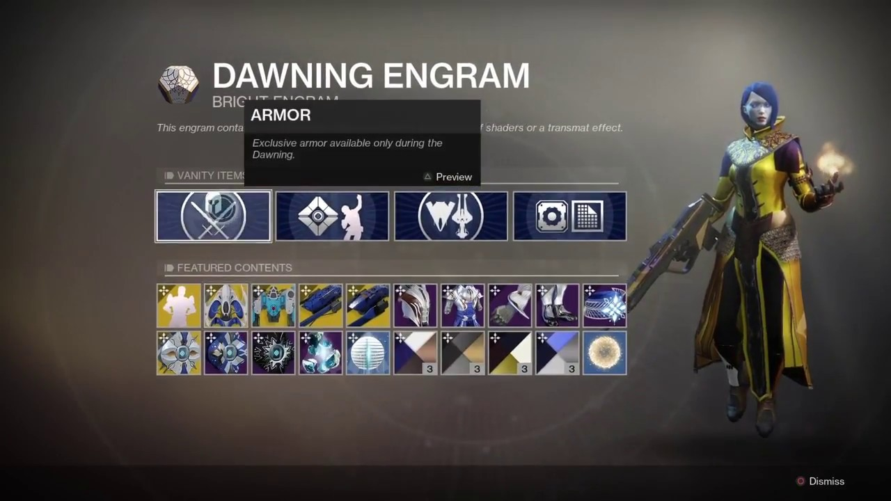dawning recipes destiny 2 reddit