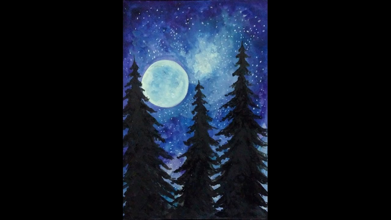 78 Easy Watercolor Painting Moonlight Painting Night Sky Trees 2 Youtube Moonlight Painting Watercolor Paintings Easy Painting