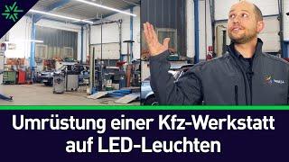 LED-Beleuchtung für die Kfz-Werkstatt – Umrüstung auf Wasco REDOX LED-Lichtband und Eiko Tri-Proof