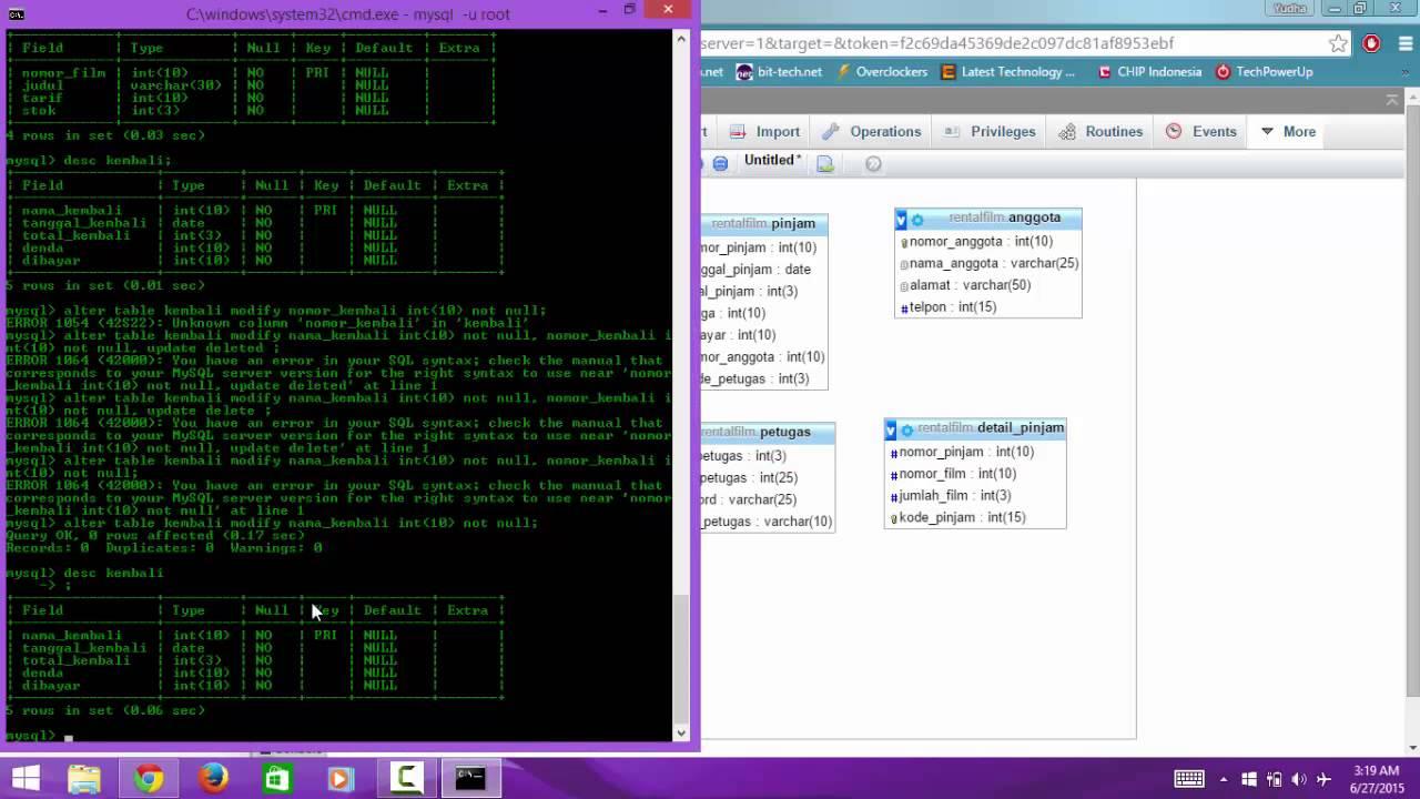 Tutorial cara membuat database table di xampp mysql dengan