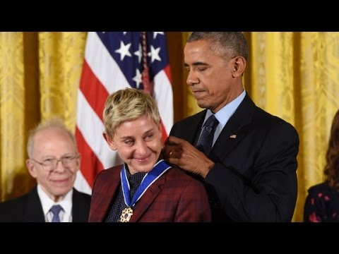 Ellen DeGeneres tears up receiving Medal of Freedom