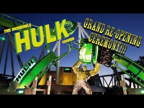 Universal Orlando Incredible Hulk Roller Coaster Complete Grand Re-Opening Ceremony Tour & Review!