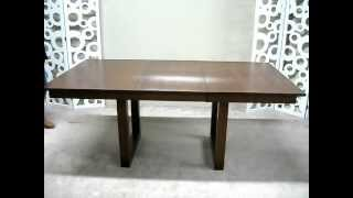 Solid Wood Dining Table With Self Storing Leaf