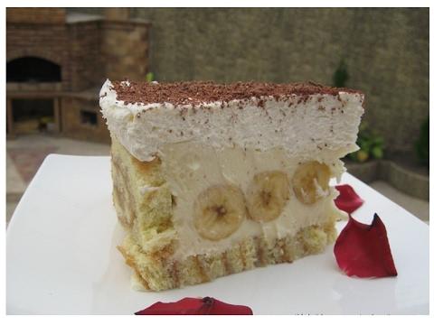 Торт со сливками и бананами