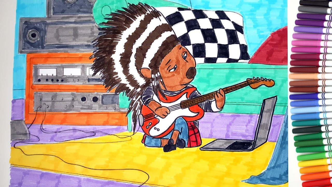 SING MOVIE Ash The Porcupine Plays Guitar Coloring Pages