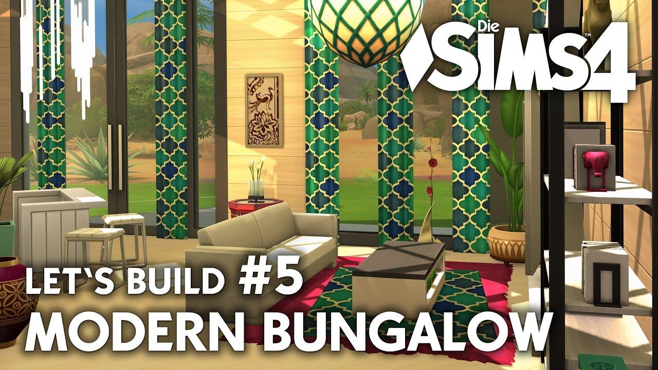 Haus bauen modern bungalow  Wohnzimmer | Die Sims 4 Haus bauen | Modern Bungalow #5 - Let's ...