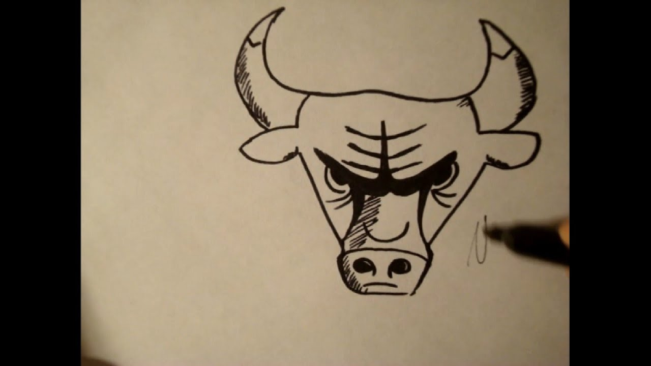 how to draw chicago bull logocowstep by step youtube