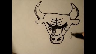 How To Draw Chicago Bull Logo|Cow|Step By Step