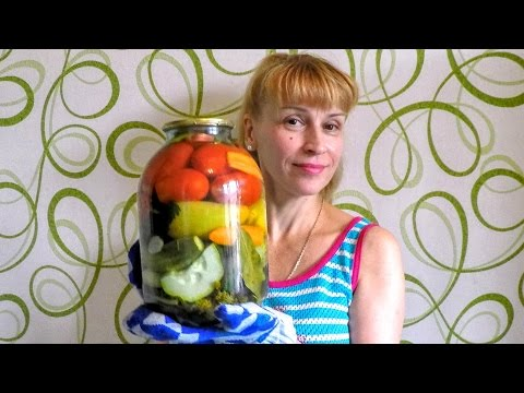 Овощное Ассорти на зиму рецепт Секрета заготовки и консервации огурцов и томатов с перцем