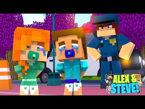 Minecraft LIFE of ALEX & STEVE - THE BABY TWINS ARE ARRESTED & LOCKED UP IN PRISON!!