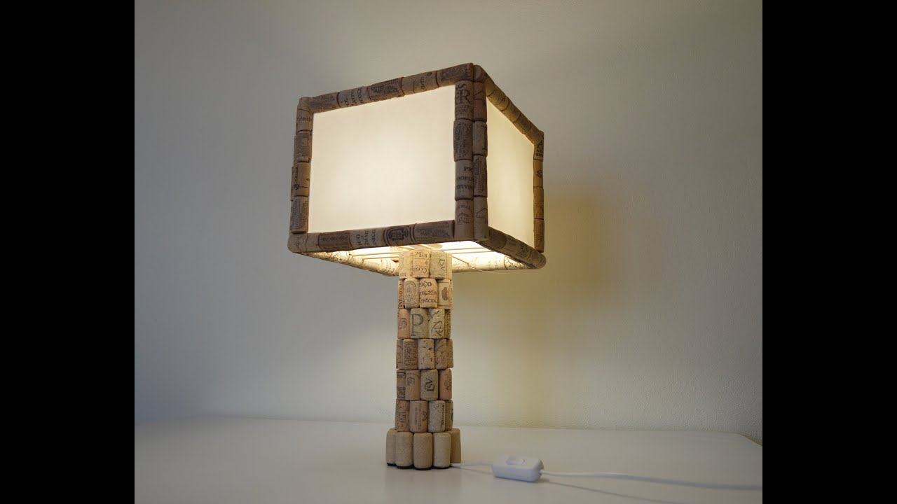 How to make table lamp with cork como hacer una lampara - Lamparas para mesa ...