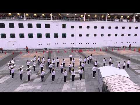 Sapphire・Princess Departure Ceremony at Nagasaki-port Japan 7th April 2015 18:00