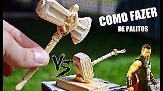 THOR: Guerra infinita, Novo Martelo (machado) vs martelo clássico de palitos como fazer - Armas