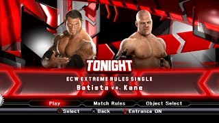 WWE SmackDown VS Raw 2009 PS3 Gameplay - Batista VS Kane Extreme Rules Match [60FPS][FullHD]