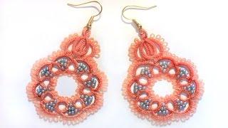 Кружевные серьги с бисером фриволите иглой. МК для начинающих. lace frivolite earrings with a needle
