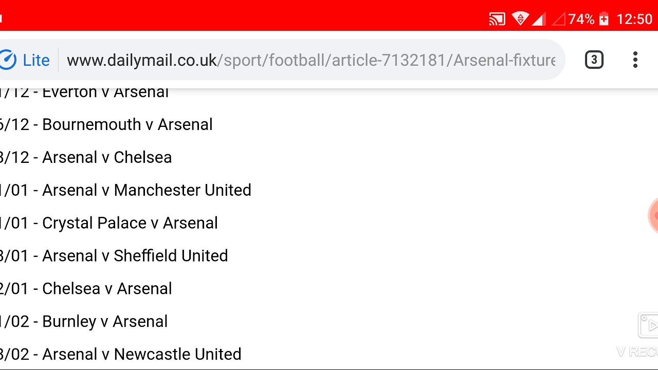 Arsenal FC Fixtures for 2019/2020 Premier League Season ...