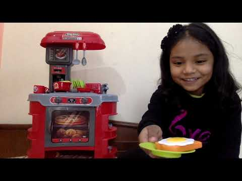 kids play cooking food toyswith new kitchen set