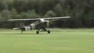 Piper L-4 forward slip, landing and high tail taxi