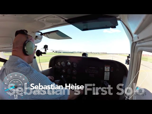 Sebastian Heise's first airplane solo at Sporty's Academy