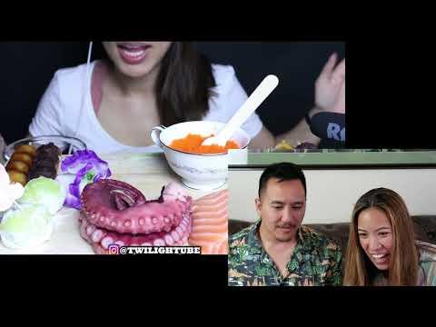 Twilight ASMR Reaction Video | TRAP BISTRO TV| Raw Octopus And Salmon Sushi Mukbang