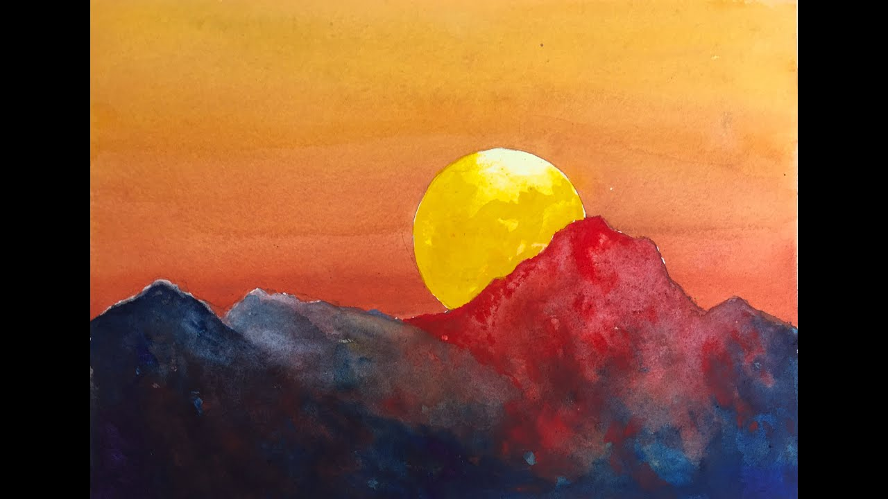 Dramatic sunset watercolor tutorial an easy step by step for Step by step painting tutorial
