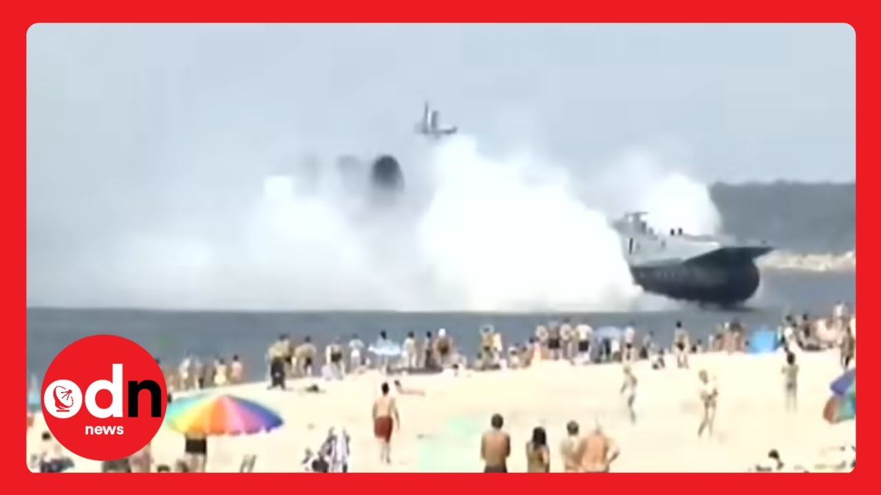 Russian Military Ship Ploughing Onto
