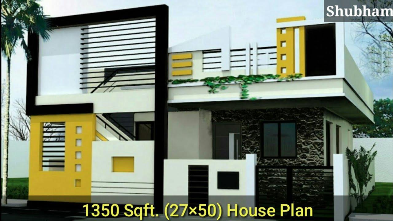 27×50 House Plan 3d || 27×50 घर का नक्शा || Front ...