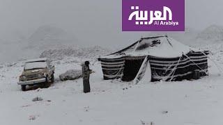 العربية تواكب تساقط الثلوج على مناطق شمال السعودية