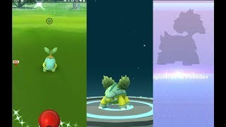 Catching shiny Turtwig, evolving into shiny Grotle and Torterra