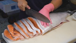 Salmon Cutting Skills, Salmon Steaks / 鮭魚切割技巧, 鮭魚肉排 - Fish Market in Taiwan