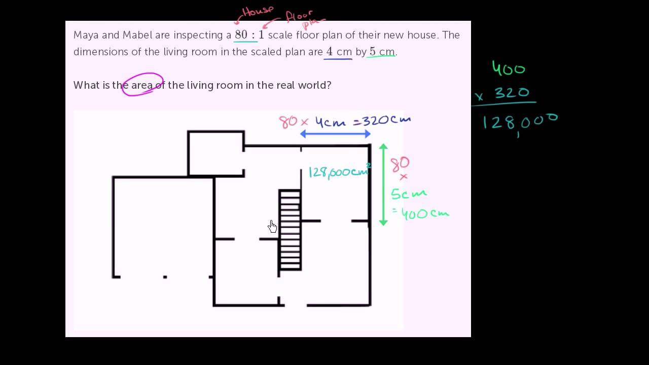 Fortolkning af en tegning med et målestoksforhold for at finde et areal