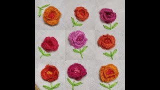 255-Scattered motif of tiny roses with caston stitch(Hindi /Urdu)