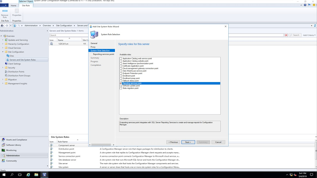 Add the reporting services point role in SCCM 2019