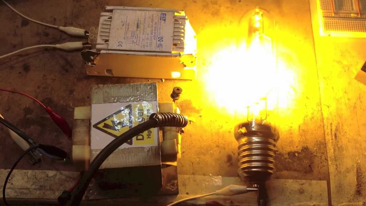 powering up a high pressure sodium lamp - the wrong way (without an  igniter) - youtube