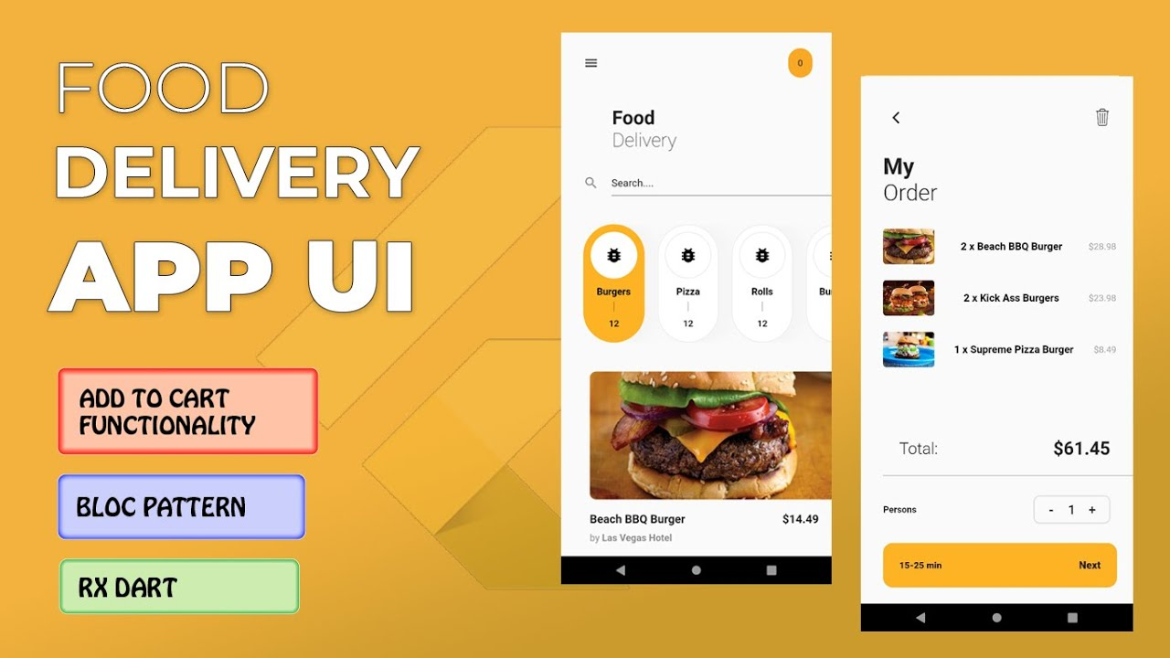 Food Delivery App UI with Functionality - Flutter