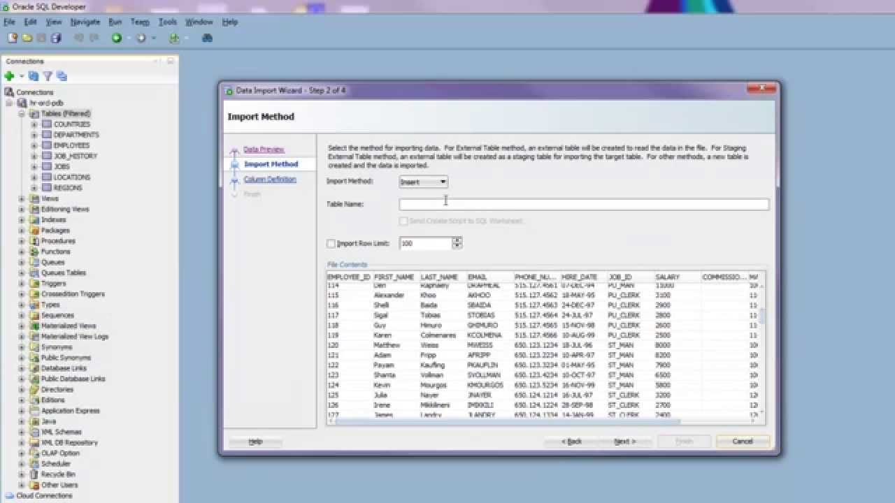 Importing Data from Excel into Oracle Database using SQL Developer 4 1