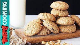Oatmeal Peanuts Chocolate Cookies Recipe 🍪 Tasty Cooking