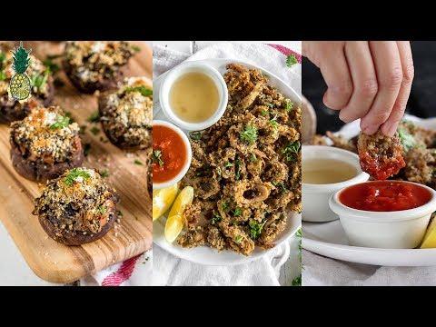 Vegan Holiday Appetizers   Calamari & Stuffed Mushrooms