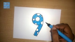 How to draw Number 9 Nine with Color | Learn Numbers | How to write numbers