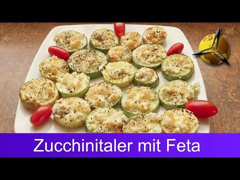 Zucchinitaler mit Feta überbacken - Grillgemüse Rezept