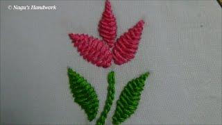 Herringbone Stitch(Filling Flower&Leaf)-Chain Stitch-Hand Embroidery Tutorials By Nagu