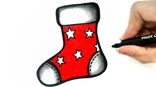 HOW TO DRAW A CHRISTMAS SOCK EASY STEP BY STEP