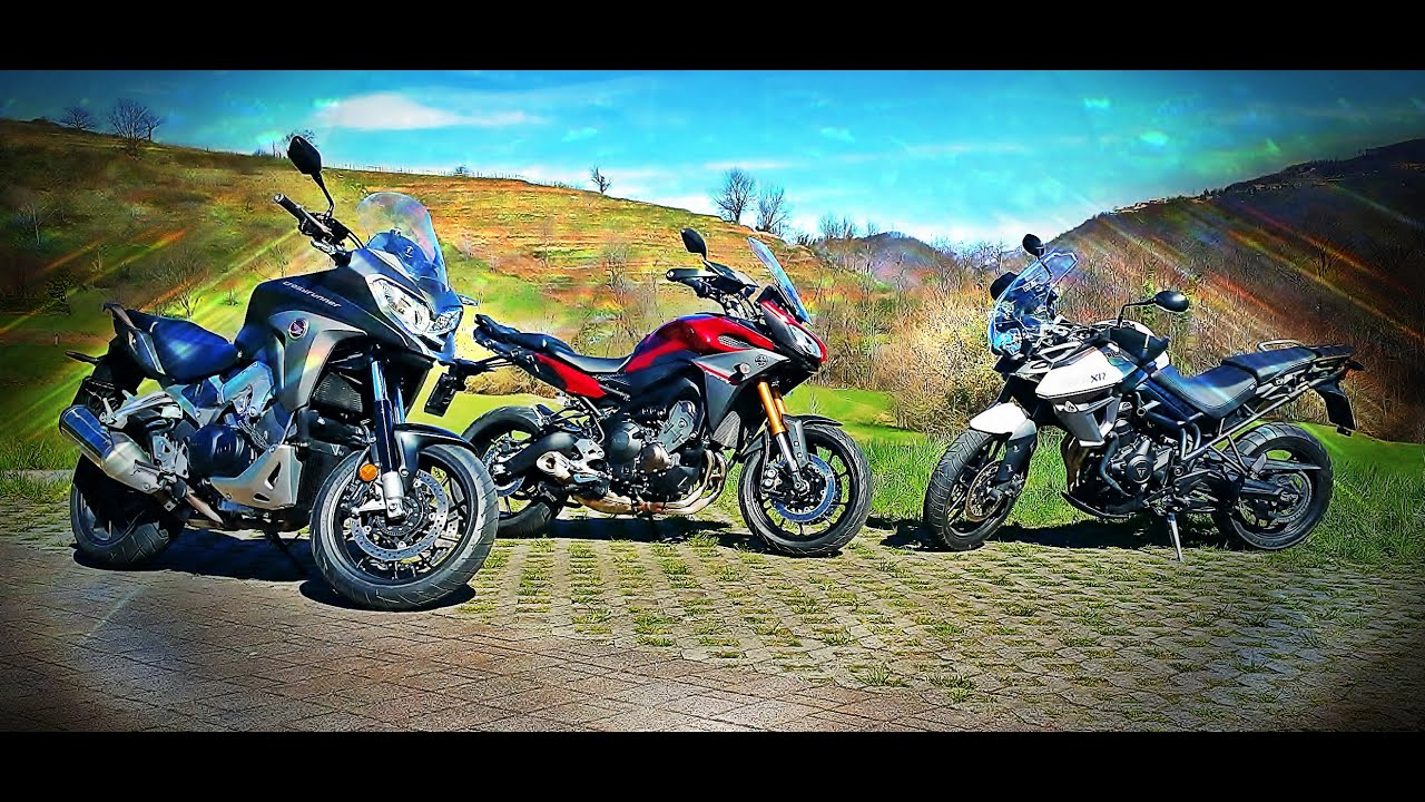 Honda Crossrunner Vs Yamaha Mt 09 Tracer Vs Triumph Tiger Xrx Youtube