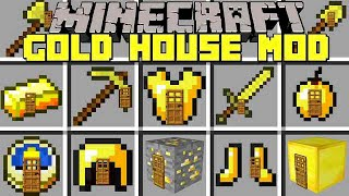 Minecraft GOLD HOUSES MOD l SPAWN INSTANT GOLD HOUSES! l Modded Mini-Game